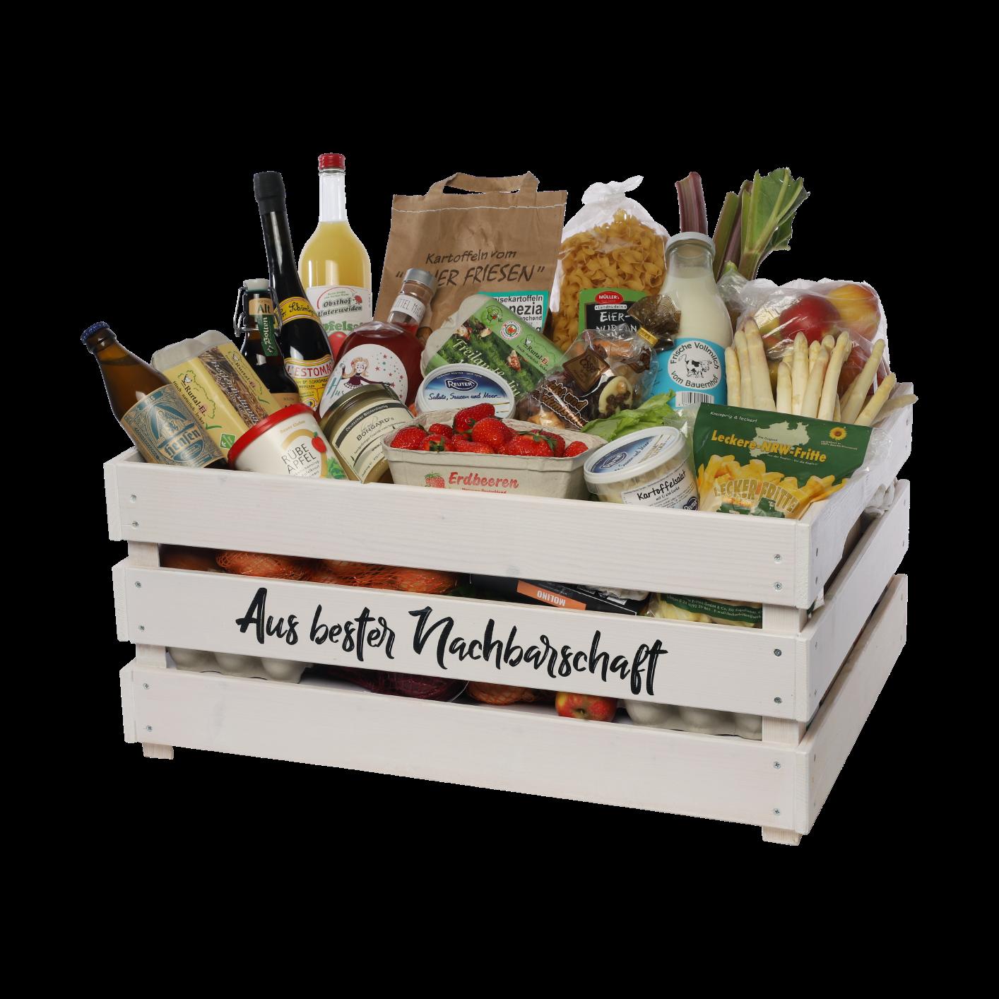 Kiste mit Produkten aus bester Nachbarschaft